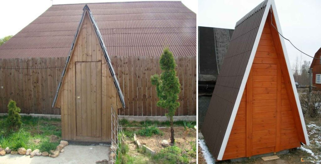 Постройка треугольного туалета на даче своими руками